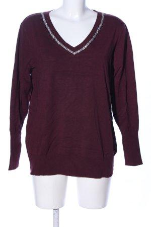 Violeta by Mango V-Ausschnitt-Pullover rot Casual-Look
