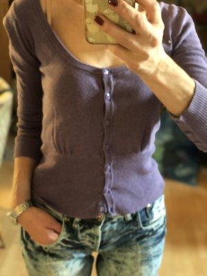 Violettes Cardigan aus sehr weicher Baumwolle