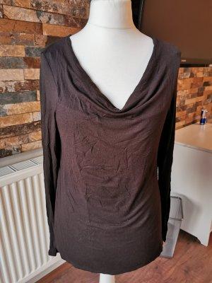 Comma Camisa con cuello caído marrón oscuro