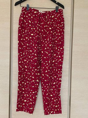 Marni Pantalon 3/4 rouge foncé-jaune clair