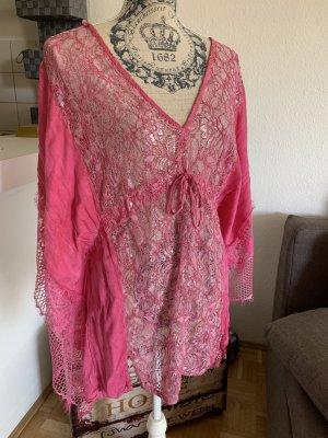 Viskose Italy Tunika/Bluse - Pink/Silver - OneSize - Spitze