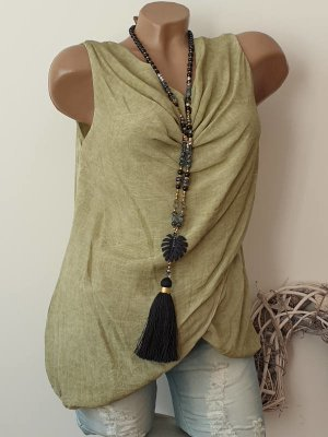 Made in Italy Cowl-Neck Top olive green-grass green viscose