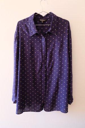 Ulla Popken Long Sleeve Blouse white-dark blue viscose