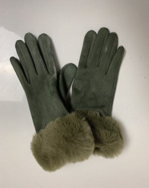 keine Fur Gloves olive green