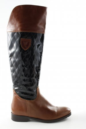 Vitti Love Wide Calf Boots bronze-colored-black quilting pattern business style
