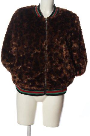 Viva Couture Giacca in eco pelliccia marrone-nero motivo animale stile casual