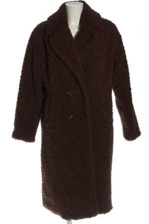 Viva Couture Abrigo de piel marrón estampado repetido sobre toda la superficie