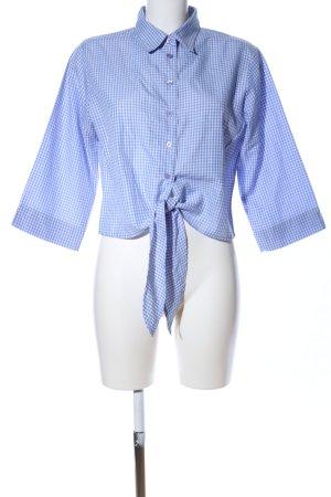 Blusa a cuadros azul-blanco estampado a cuadros look casual