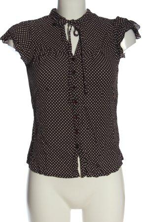 Vivance Camicia blusa marrone-bianco motivo a pallini stile casual