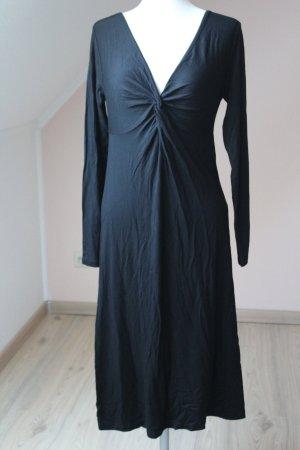 Vivance Kleid schwarz Gr. 40 Basic Midi  Langarm V-Ausschnitt