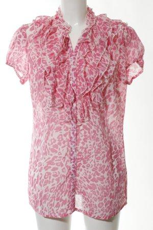 Vivance Rüschen-Bluse pink-weiß Allover-Druck Casual-Look