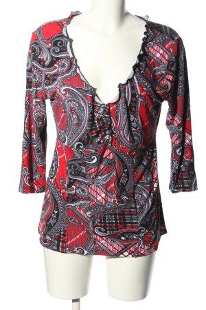 Vivance Maglia con scollo a V rosso-grigio chiaro motivo floreale stile casual