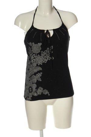 Vive Maria Blusa senza maniche nero-grigio chiaro motivo floreale stile casual
