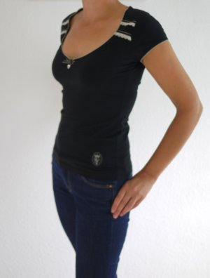 Vive Maria V-Neck Shirt black-natural white cotton