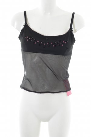 Vive Maria Spaghetti Strap Top black-pink flower pattern extravagant style