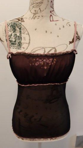 Vive Maria Top con bretelline nero-rosa chiaro