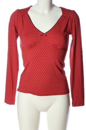 Vive Maria V-Ausschnitt-Shirt rot-schwarz Allover-Druck Casual-Look
