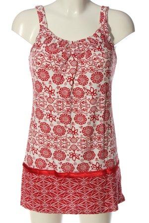 Vivien Caron Lange top rood-wit abstract patroon casual uitstraling