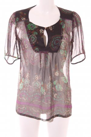 Vivien Caron Transparenz-Bluse mehrfarbig Bänderverzierung