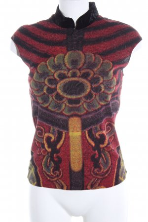 Vivienne Tam Top con colletto arrotolato rosso-nero motivo astratto stile casual