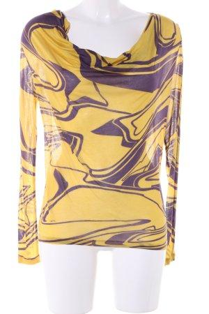 VJC Versace Longsleeve blassgelb-lila abstraktes Muster Casual-Look