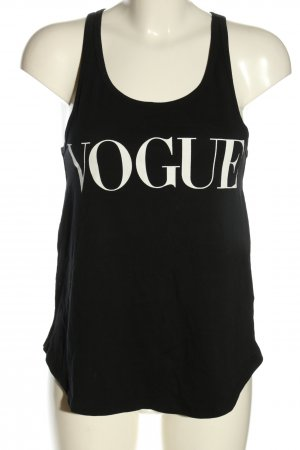 Vogue Muscleshirt zwart-wit gedrukte letters casual uitstraling