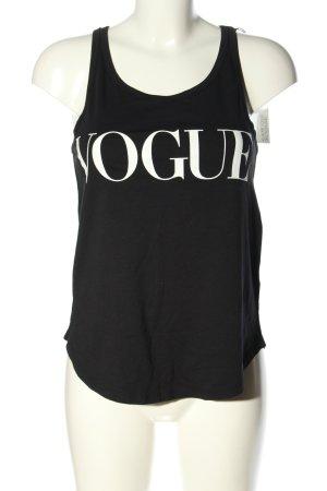 Vogue Débardeur marcel noir-blanc lettrage imprimé style décontracté