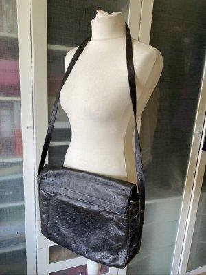 Vogue Straußenleder Umhänge Tasche schwarz