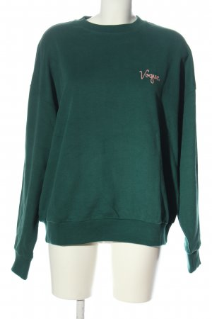 Vogue Sweat Shirt green embroidered lettering casual look