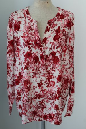 Vokuhila Bluse Blusentop neu Frühling Sommer rot weiß Blumen Gr. 38