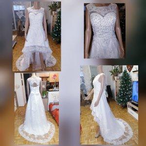 Vokuhila Brautkleid mit Schleppe Gr.38 Hochzeitskleid