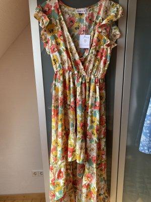Vintage Dressing Robe bas asymétrique jaune-rouge