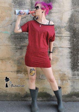 Julnicat Sukienka na jedno ramię czerwony-czarny Bawełna