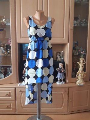 Made in Italy Robe bas asymétrique blanc-bleu fluo viscose