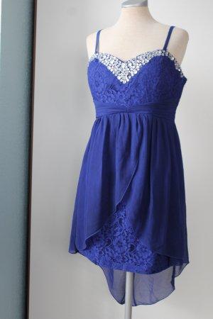 Vokuhila Kleid Cotton Club blau Spitze Trägerkleid Satin  40 42 M L
