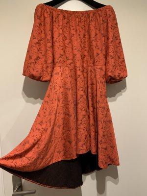 Jurk met langere achterkant lichtrood Polyester