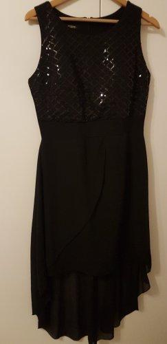 Vokuhila Kleid mit Pailletten schwarz L