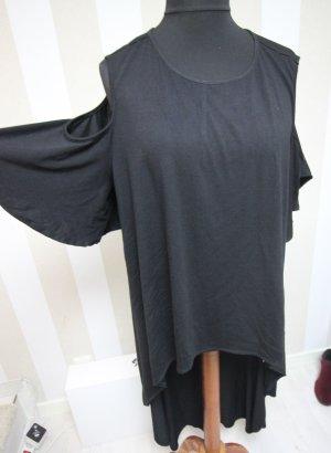 Vokuhila Longshirt Shirt Top Cut Outs an den Schultern