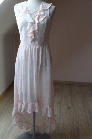 Vokuhila Maxi Kleid rose weiß Gr. 36 neu Rüschen Schleife