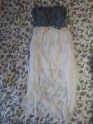 Robe bas asymétrique bleu azur-blanc