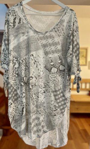 Made in Italy Robe bas asymétrique blanc-gris clair coton