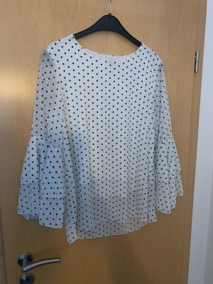Made in Italy Ruche blouse wit-zwart