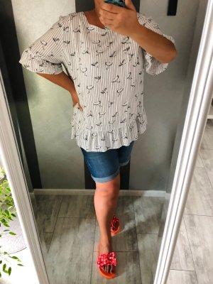 Yessica Bluzka z krótkim rękawem w kolorze białej wełny-czarny