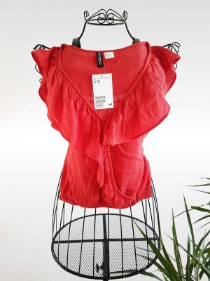 Volant Bluse in rot von H&M