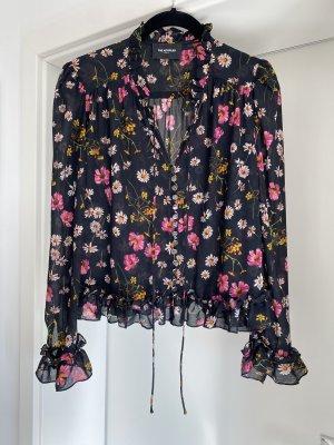 Volant Bluse mit Blumen und Stehkragen