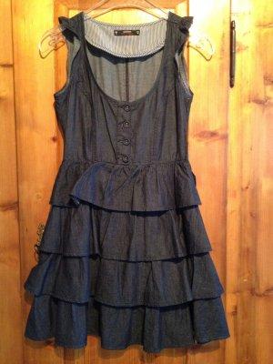 Miss Selfridge Sukienka z falbanami ciemnoniebieski Bawełna