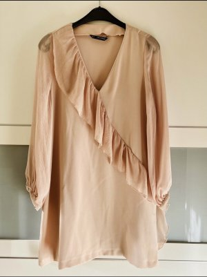 Zara Basic Vestido estilo flounce nude