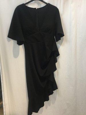 Volant-Kleid Gr.S schwarz mit diagonal verlaufendem Volant Made in Italy