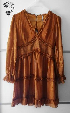 Golden Live Robe découpée cognac-rouille