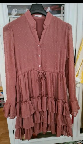 Vintage Dressing Flounce Dress dusky pink